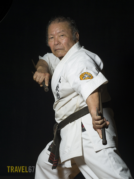 9th Dan  Kounanryu Karate and Kobudo Master Jyosei Yogi portrait at the Naha Budokan Martial Arts Center in Okinawa, Japan.